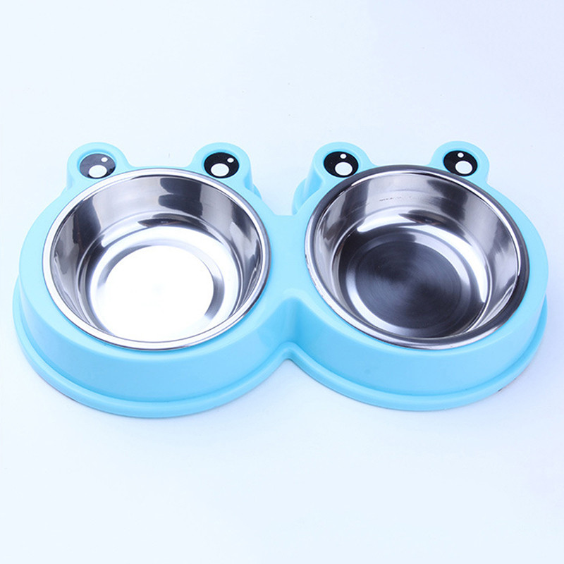 Pet Dog Cat Puppy Travel Feeding Feeder Double Food Bowl Water Dish Cute Frog Pet Feeding Bowl
