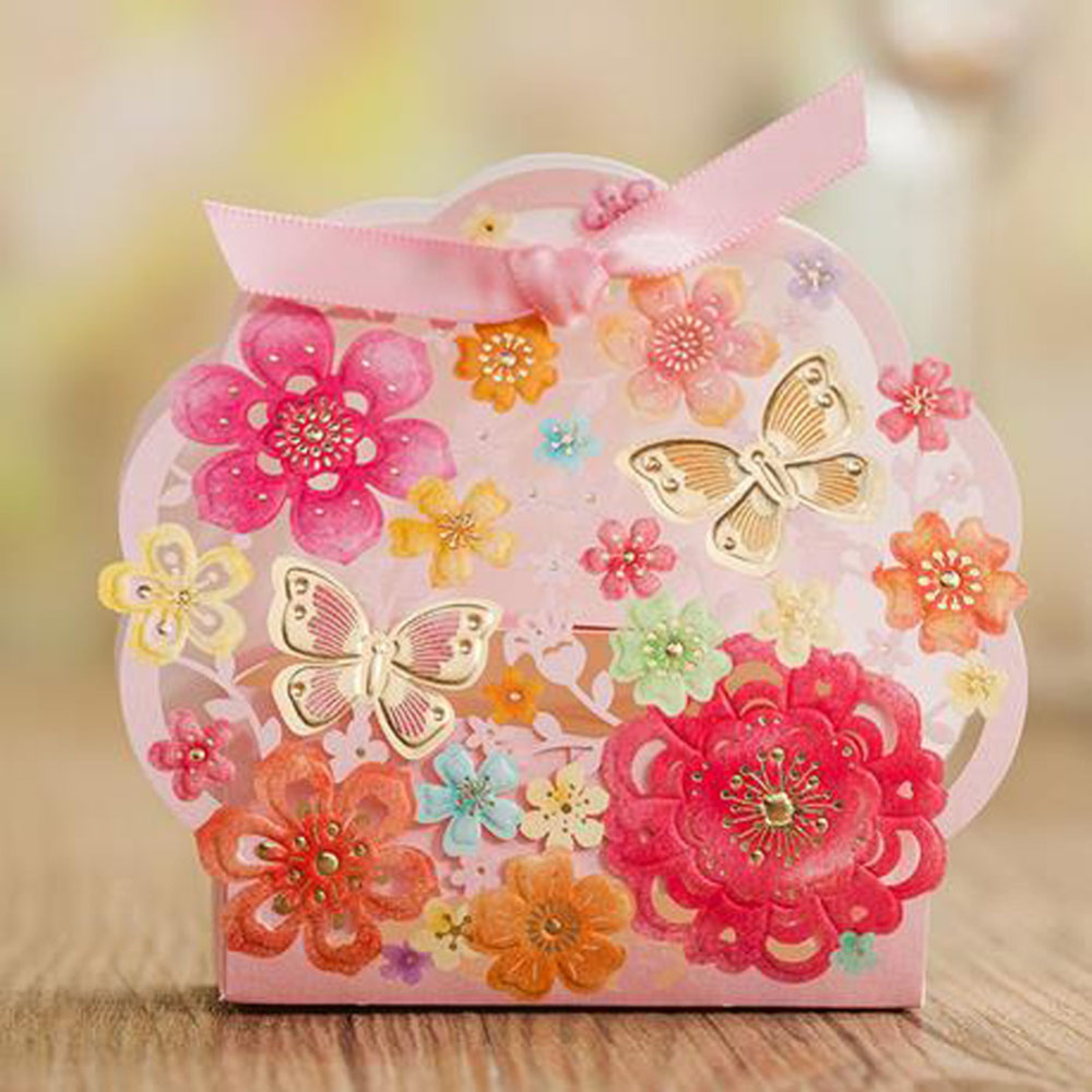 European style Candy box pink flower butterfly bow wedding favor box ...