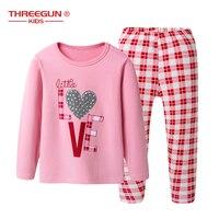 Girls Pajamas Set Love Hearts Letters 2pcs/Set Cotton Soft Warm Kids Nightwear Pajamas Cartoon Sleepwear Children Pyjama