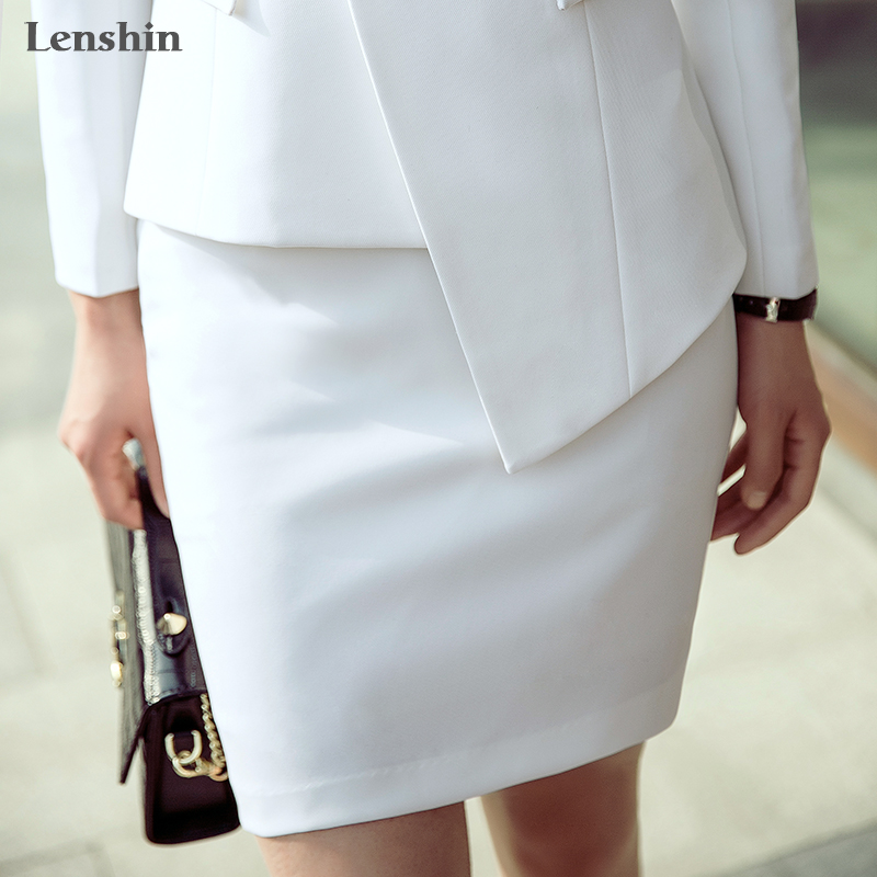 Lenshin Above Knee Mini White Skirt Work Wear Pencil Formal Office Lady Women Back Zipper Simple Style