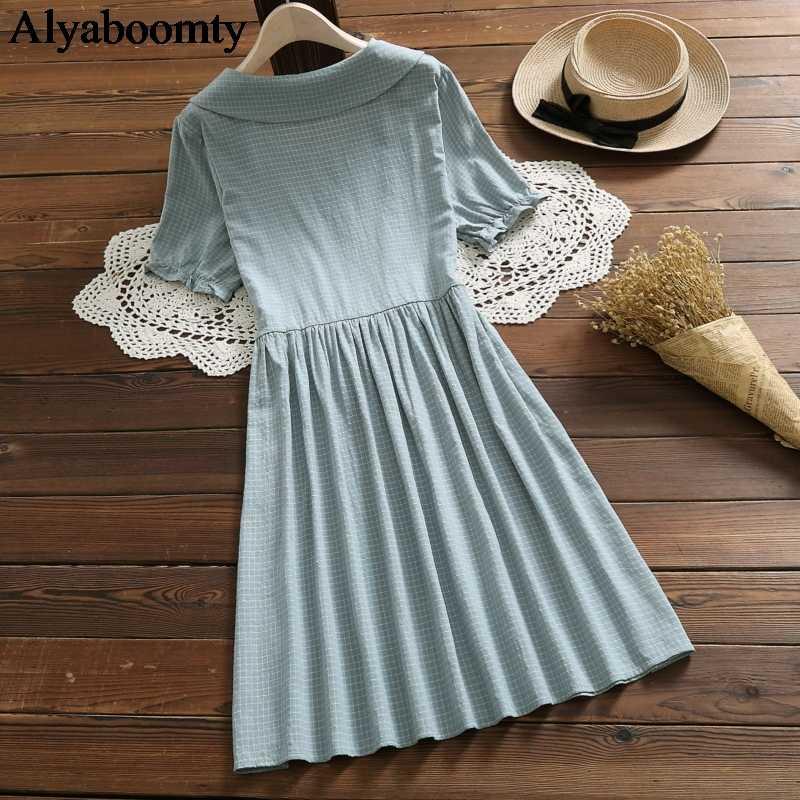 Японский консервативный стиль, летняя женская свободная одежда, воротник Питер Пэн, зеленый плед, vestido de festa, хлопок, лен, Элегантное повседневное платье