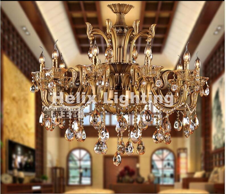 Modern bronz antik kristálycsillár, láncszem luxus sárgaréz - Beltéri világítás - Fénykép 3