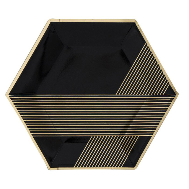 16pcs/set Vintage Chevron Striped Paper Plates Black Gold Hexagon Advanced Disposable Dinner Plates  sc 1 st  AliExpress.com : black disposable plates - Pezcame.Com