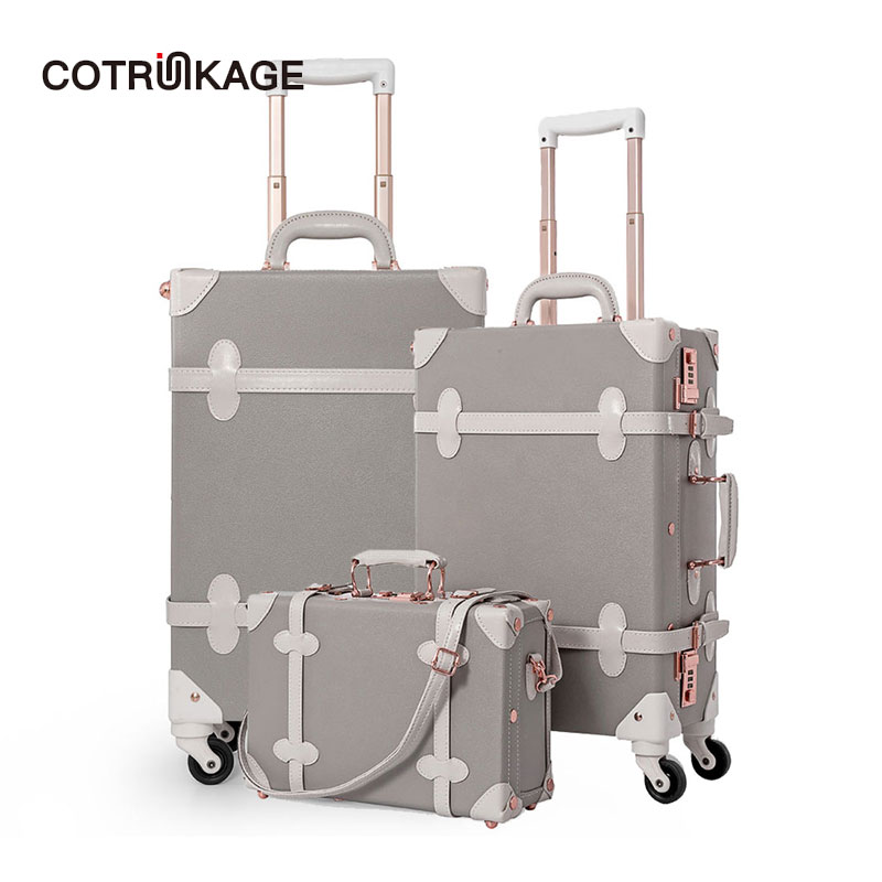 COTRUNKAGE 13 20 26 Grey Travel Suitcase Sets Ladies Pu Leather 3 Piece Womens Vintage Trolley Luggage Trunk with Wheels