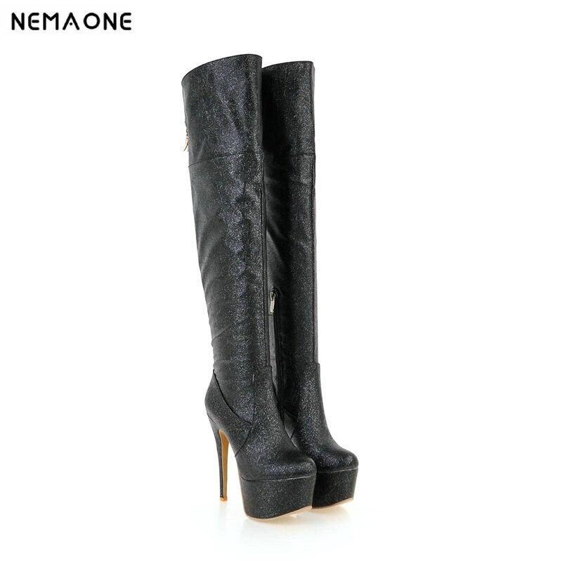 Bottes Club Super Chaussures Printemps Genou Automne 43 Haute forme Grande Danse Plate Taille or Sur Dames Nemaone Le Femme Femmes Noir argent Talons 9WH2EDIY