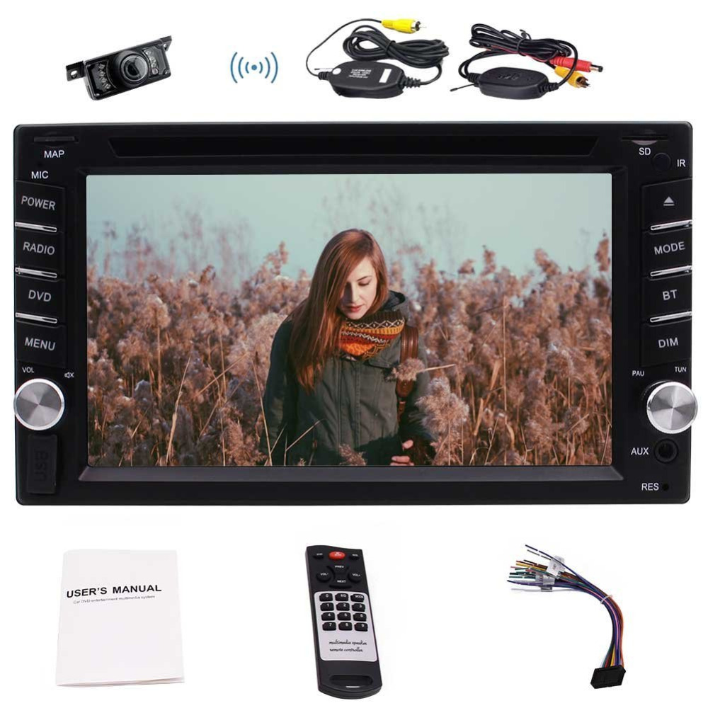 Wireless Back Camera+6.2'' Double 2 Din In Dash Car DVD Player DVD/CD/MP3/MP4/USB/SD/AM FM RDS/Bluetooth/Five Touch Capacitive автомобильный dvd плеер joyous kd 7 800 480 2 din 4 4 gps navi toyota rav4 4 4 dvd dual core rds wifi 3g