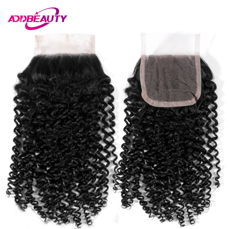 AddBeauty Swiss 4x4 Lace Closure Kinky Curly Unprocessed Virgin Brazilian Human Baby Hair Free Part Natural Color 130% Density