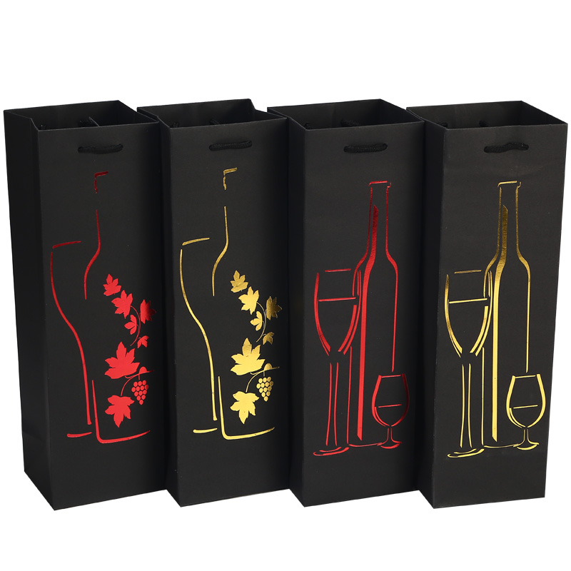 Paper Bags Wine Packing Carrier Fsetival Party Gift Bag Ribbon Handle Hot-stamping Wine Oil Bottle Gift Champagne Packing Bags