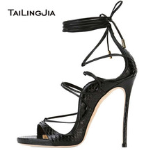 Gold Women Fish Mouth shoes Ankle Strappy Sandals High Heel Black Silvery Ladies Lace-up Woman Summer Shiny Party Plus Size Hot newest hot summer tassel fringe suede leather ankle strappy cover heel back zipper women sandals party high heels shoes woman