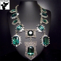 Geometric Emerald Green Austria Crystal Statement Necklace For Women Elegant Luxury Silver Big Long Choker Vintage