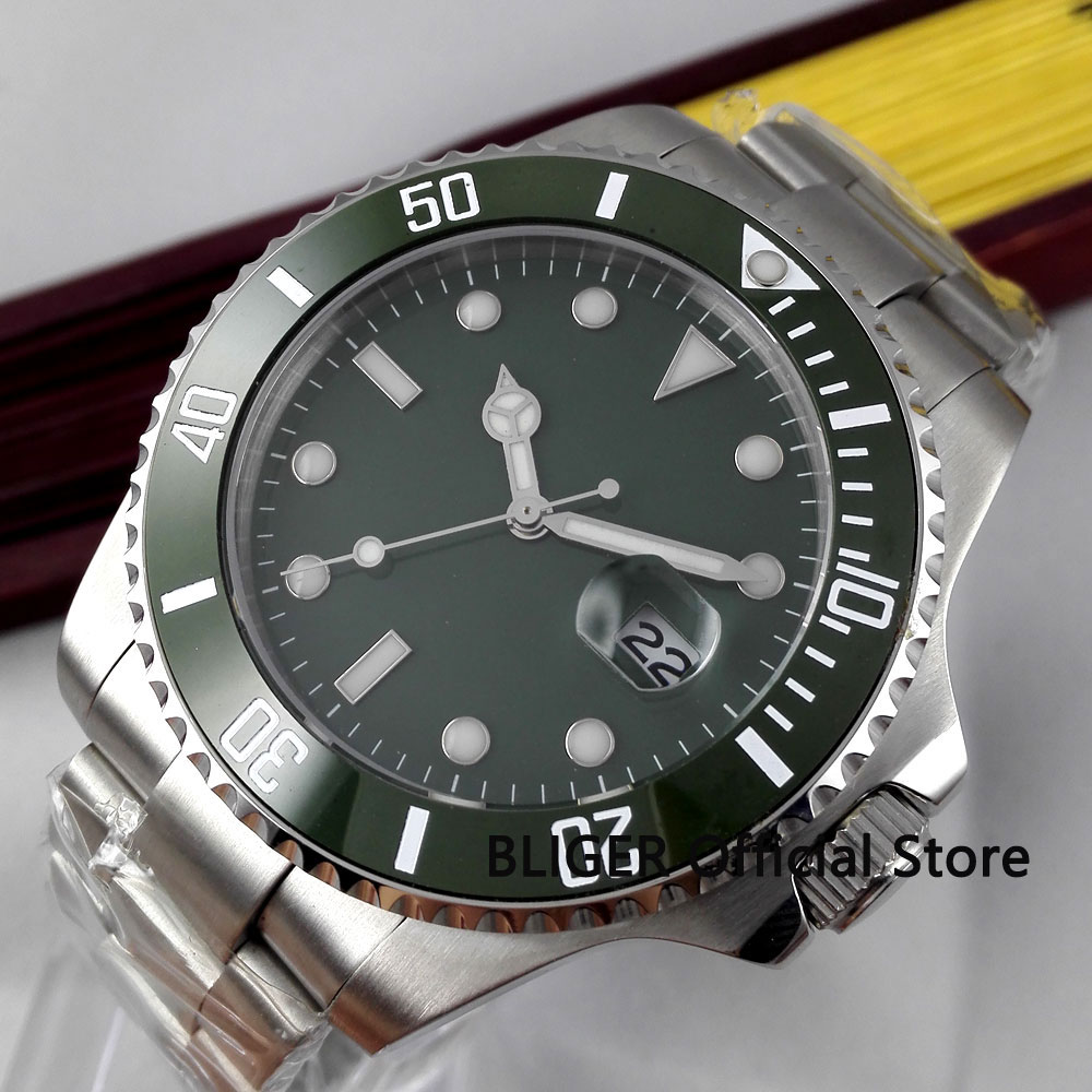 Sapphire Crystal 43mm BLIGER Green Sterile Dial Ceramic Rotating Bezel Luminous Marks Miyota Automatic Movement Mens Watch B303Sapphire Crystal 43mm BLIGER Green Sterile Dial Ceramic Rotating Bezel Luminous Marks Miyota Automatic Movement Mens Watch B303