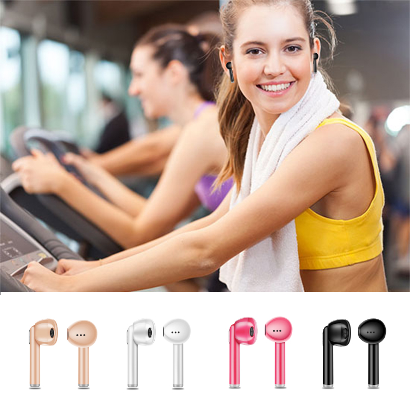 HTOCINQ Wireless Earbuds Headset In-Ear Invisible Earphone with Mic For Apple iPhone X 8 8 Plus Android Smart Phones