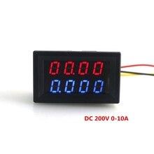 DC 0-200V/10A Voltmeter Ammeter Red Blue LED Voltage Current Tester Meter