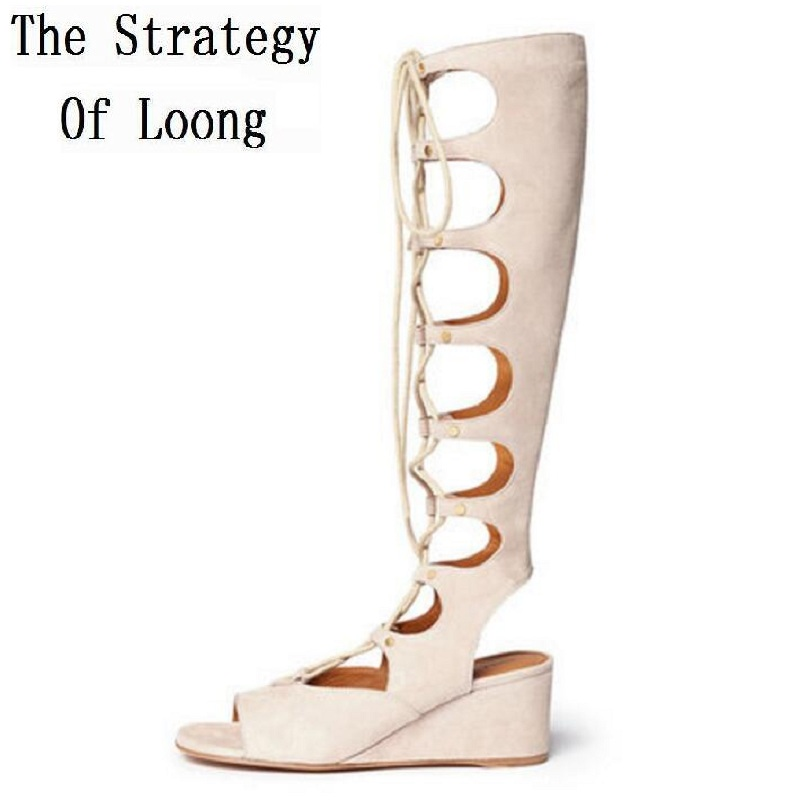 Genuine Leather Chunky Heel Gladiator Lace Up Summer Women Long Boots Cut Out Knee High Open The Toe Plus Size 33-41 SXQ0605 women sexy bling bling open toe lace up glitter embellished gladiator ankle boots cut out mix color sequined high heel boots