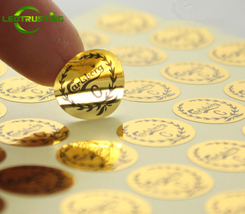 Leotrusting 1000pcs Custom Glossy Gold Silver Adhesive Stickers Customized Metallic Gold/Silver Cosmetic Bottles Jars Stickers