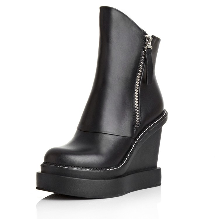 ФОТО 2016 shoes woman Genuine leather Ankle Boots High heels wedges Martin Platform Motorcycle Boots Moto sapatos Botas femininos