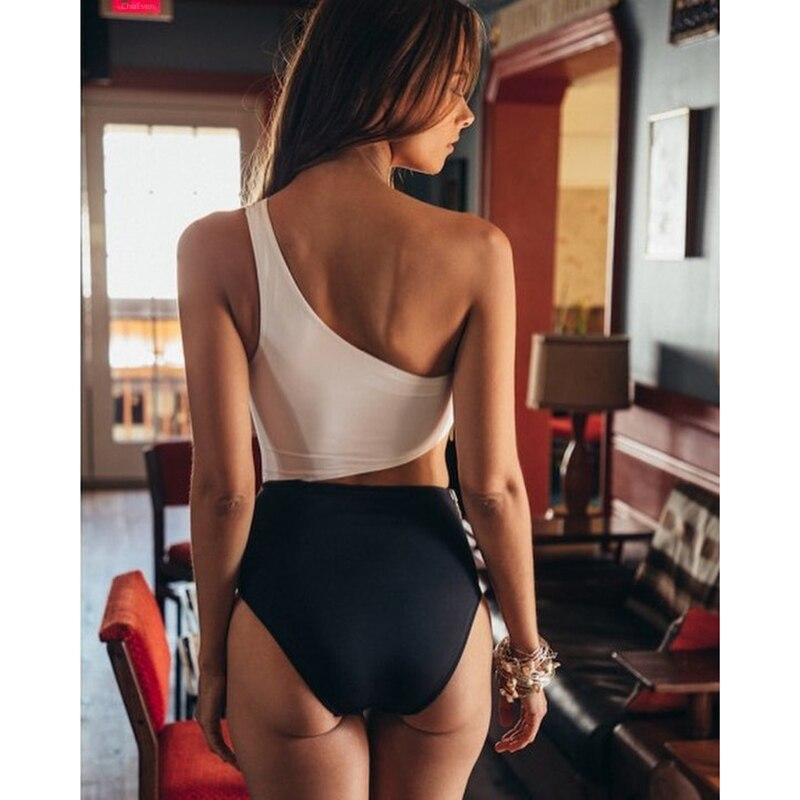 Wade Sea 2018 Sexy Zipper Swimsuit Padded One Shoulder Women One Piece Swimwear High Waist Triangle Bathing Suit Monokini Female