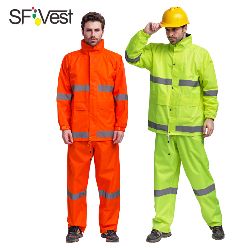 SFVest mens waterproof high visibility reflective safety 150D Oxford rainsuit jacket and trousers split raincoat free shipping