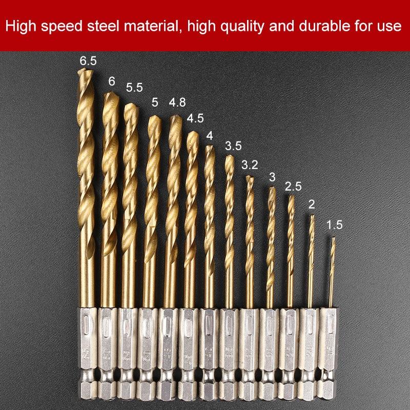 HSS 1/4 Hex Shank Drill Bit Set 13pcs 1.5-6.5mm Hexagonal Screw Drills Power Tools Woodworking Tools for Wood Plastic Working