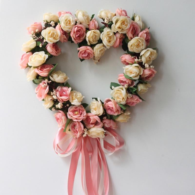 Artificial Decorations Handmade Shaped Flower Wreath Door Wreath Garland For Home Wall Garden Wedding Party Decor