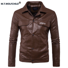 Hot sale Men brand lapel motorcycle PU jackets Casual Men's Long Sleeve Jackets Cardigan Men's Clothing Tops M-5XL Free shipping
