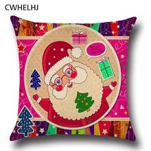 CWHELHJ Santa Boneco de Neve Decorativo Fronha Capa de Algodão de Linho/elk Impresso Fronha Árvore de Natal Caçoa o Presente 45×45 cm