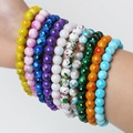 High Quality 8mm Glass Beads Charms Beaded Bracelet with Mix Color-Pick 19cm Elastic line Strand Bracelets & Bangles