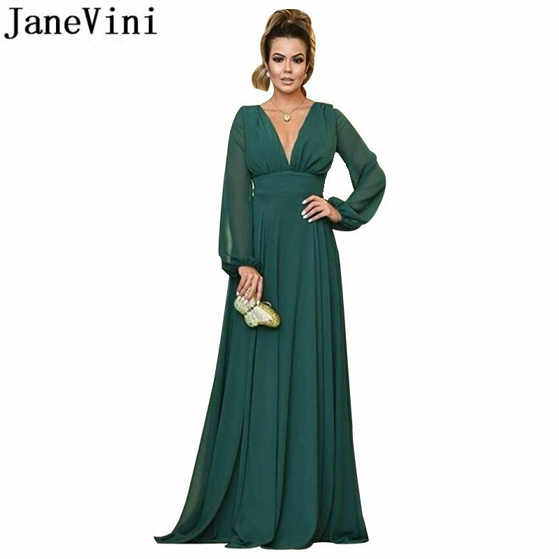 JaneVini Arabic Long Sleeves Evening Dresses Empire V-neck A-line Green Chiffon Bridal Mother Dress Simple Long Women Party Gown
