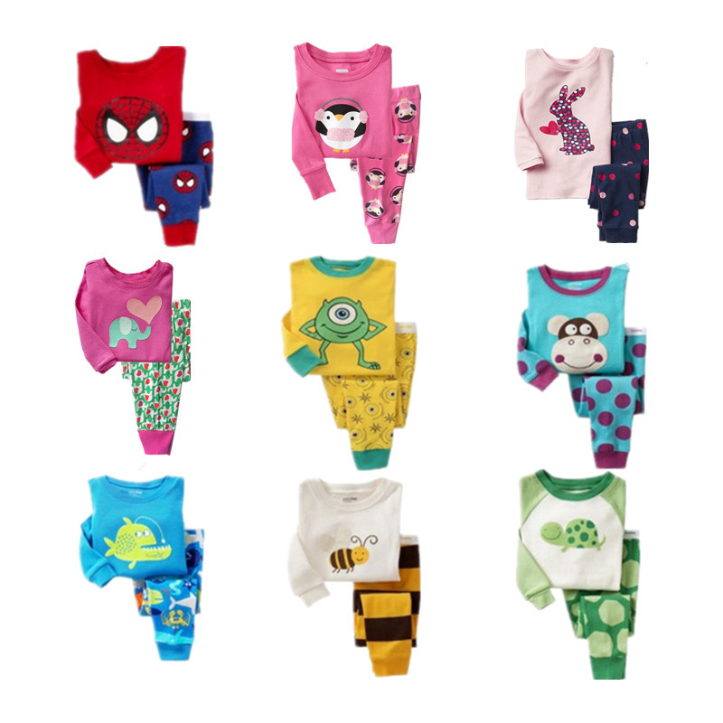 Promotion kids   pajamas     set   Children Cartoon sleepwear Boys Home   pajamas   girls cotton sweet animal pyjamas 2-7T nightwear