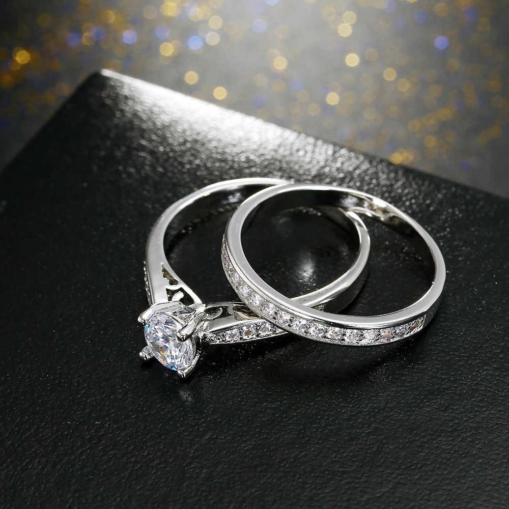 2 Buah/Banyak Warna Perak Double Cincin Set Pertunangan Wanita Cubic Zirconia Cincin untuk Wanita Wanita Kekasih Pesta Pernikahan Perhiasan