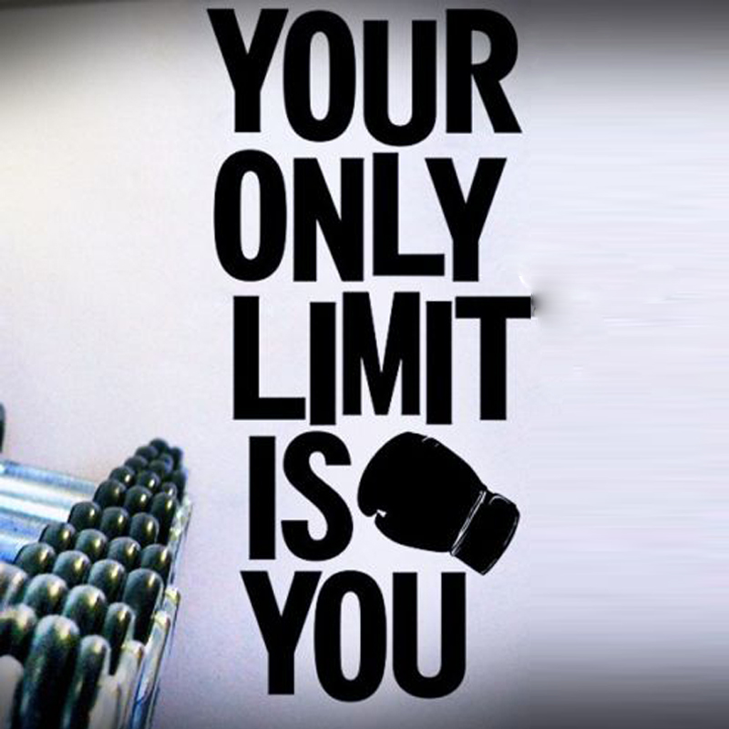 Us 1498 25 Offyour Only Limit Is You Big Letters Wall Stickers For Sport Room Wallpaper Vinyl Art Decals Fitness Background Quotes K947 In Wall