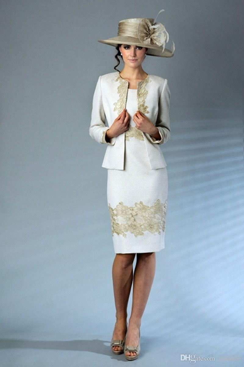 Two Piece Lace Mother of the Bride Dresses Knee Length Long Sleeve ...