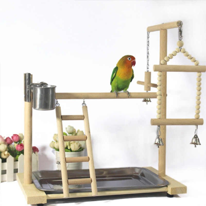 Parrots Plays tand Perch with Ladder feeder Toys Bird Wood Playground Parrots feeding cup Swing Hanging Climbing Frame pet HW039