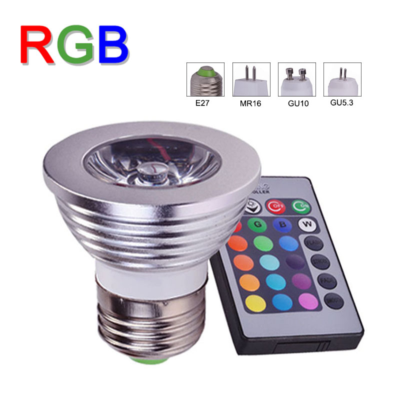 e27 4w rgb led bulb spotlight gu10 gu5 3 mr16 16 color change led lamp spot light 24key ir. Black Bedroom Furniture Sets. Home Design Ideas
