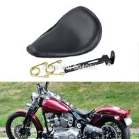 Motorcycle Black Leather Deep Dish Solo Spring Seat For Custom Bobber Harley Sportster Dyna