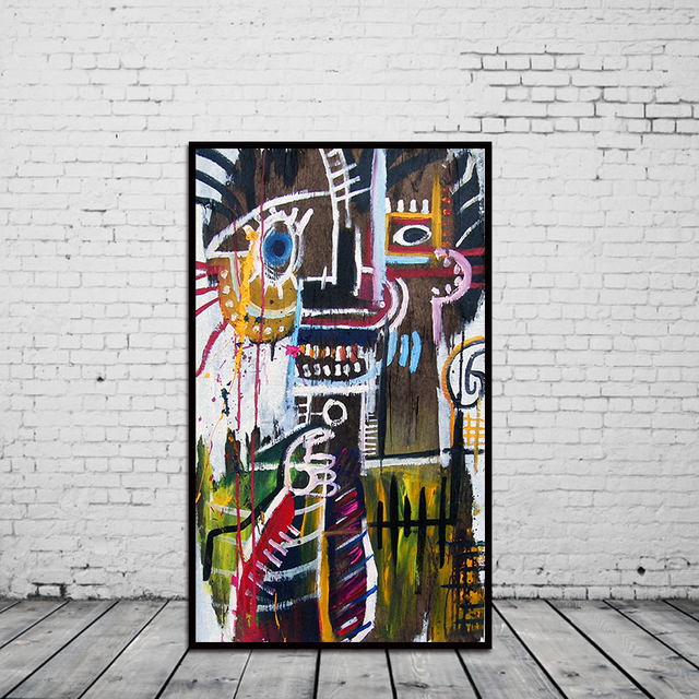 graffiti abstrait art sur toile peinture l 39 huile moderne carac norme mur d cor sans cadre. Black Bedroom Furniture Sets. Home Design Ideas