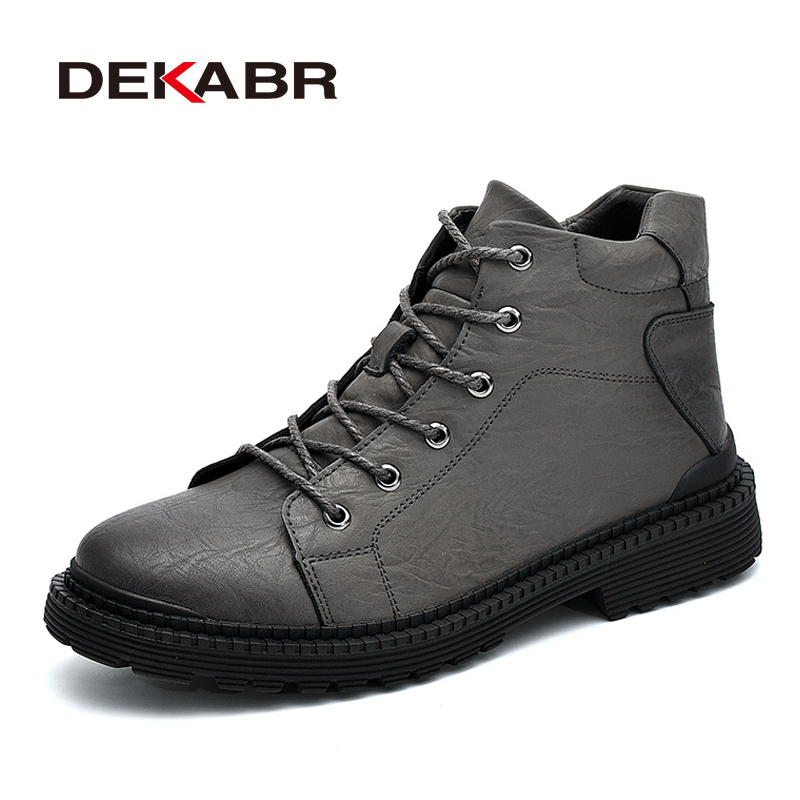 DEKABR Brand Winter Warm Genuine Leather Men Boots Short Plush Ankle Motorcycle Fashion High Quality Shoes Boot Men Size 38~44