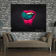 handpainted Wall Art oil Painting for Living Room The Red Lips  Canvas Oil Modern Pop Home Decor bar wall decor