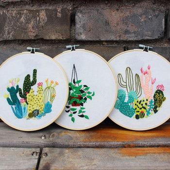 DIY 3d haft dla początkujących zestawy do szycia Cross Stitch rośliny i kaktus Nordic malarstwo ścienne ozdoby do dekoracji wnętrz prezent dla przyjaciela tanie i dobre opinie Obrazy Floral Składane Konopi Nieuporządkowanych robótki Duszpasterska PAPER BAG