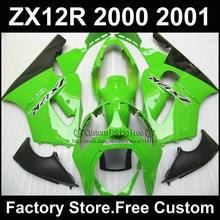 Niestandardowy darmowe aftermarket ABS fairing zestaw dla Kawasaki zielonym czarnym owiewek 2000 2001 ZX 12R Ninja zx12r 00 01 motocykli bodykit