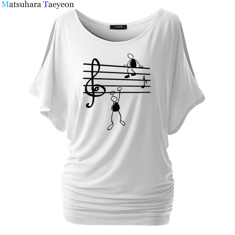 Music Notes Funny Printed T Shirt Women Summer Animal Short Sleeve Tshirts Harajuku T-Shirt Girl Casual Tops t shirt Brand