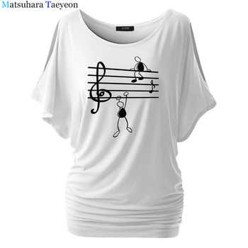 Music Notes Funny Printed T Shirt Women Summer Animal Short Sleeve Tshirts Harajuku T-Shirt Girl Casual Tops t shirt Brand - DISCOUNT ITEM  37% OFF All Category