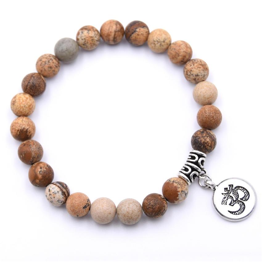 Natural Stone Strand Bracelet Yoga Chakra Mala Bracelet OM Lotus Women Men Beaded Charm Bracelet Jewelry Pulseras dropshipping - Окраска металла: ZT110-1
