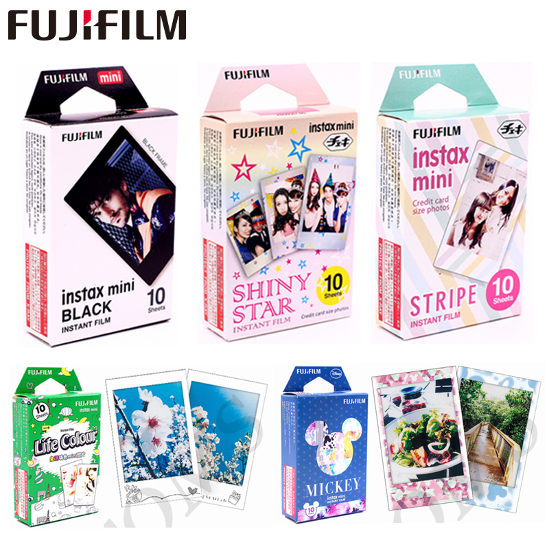 Originale Fujifilm 10 fogli Stars STRIPE TSUM Black frame Minion Film Immediata carta fotografica per Instax Mini 8 7 s 25 50 s 90 9 SP