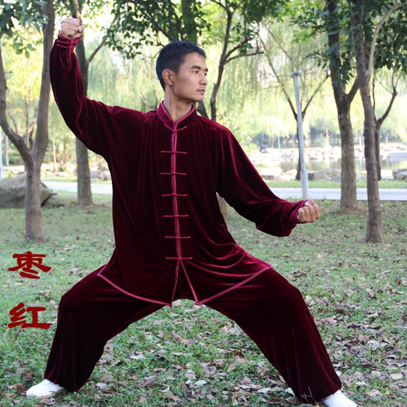 цена на Thickened Warm Tai Chi Clothing Pleuche Fabric Kung Fu Suit Martial Art Uniform taiji wushu Autumn Winter Clothing for men women