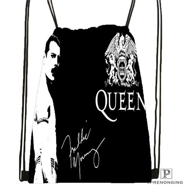 Custom Queen Band  Drawstring Backpack Bag Cute Daypack Kids Satchel (Black Back) 31x40cm#180611-01-05