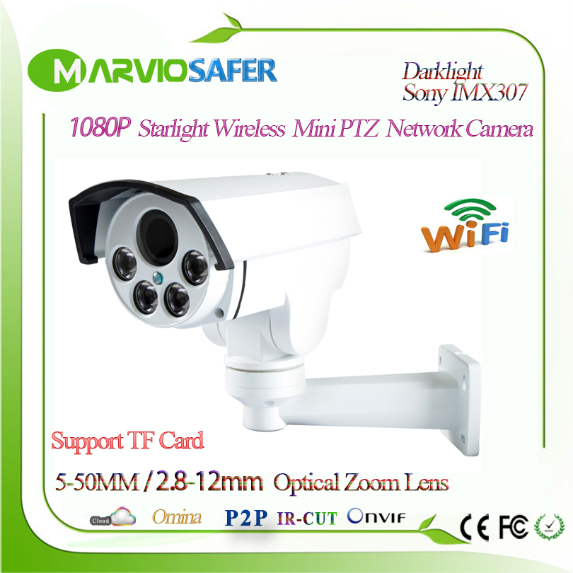 H.265 Starlight 1080P Bullet PTZ 10X / 5X Optical Zoom wi-fi Network Camera Wireless CCTV TF Card Slot Onvif Sony IMX307 Audio
