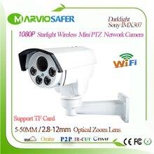 H.265 Starlight 1080 P пулевидная ptz-камера 10X/5X Оптический зум сети Wi-Fi Камера Беспроводной видеонаблюдения TF карты Onvif sony IMX307 аудио