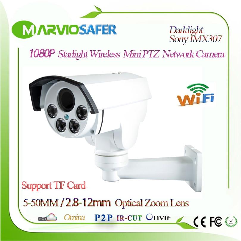 H.265 Starlight 1080 P Bullet PTZ 10X/4X Optique Zoom Réseau wi-fi Caméra Sans Fil CCTV TF Fente Pour Carte Onvif sony IMX307 Audio