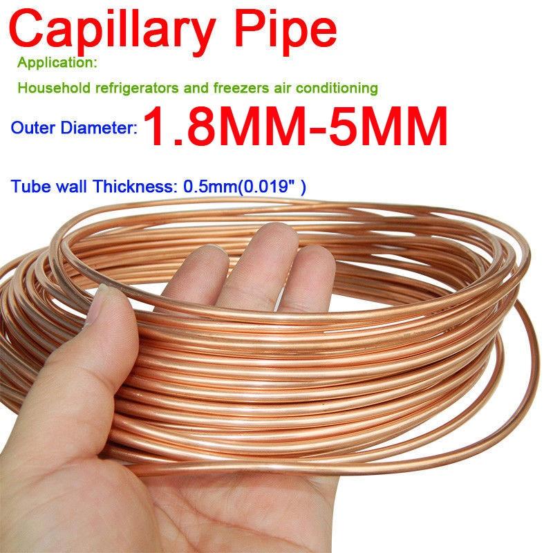 Трубка для охлаждения капиллярных труб, 1,6 мм, 1,8 мм, 2 мм, 2,5 мм, 3 мм, 3,5 мм, 4 мм, 5 мм, 1 м, диаметр медного тона